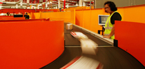 parcels on conveyor belt
