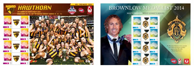 2014 AFL Premiers and 2014 Brownlow Medallist stamps