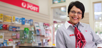 Australia Post employee in business hub