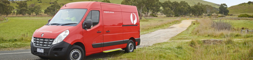 Image of delivery van at rural property