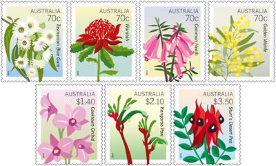 Image of the stamps in the floral emblems stamp issue
