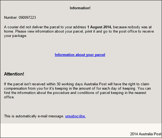 scam email example missing Australia Post branded letterhead