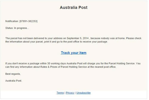 Scam email example of attempted delivery with no tracking number provided and missing Australia Post branding