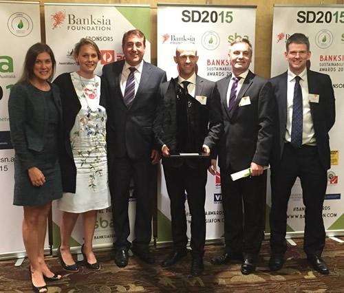 Australia Post representatives at the Banksia Sustainability Awards 2015. Details provided in text below image.