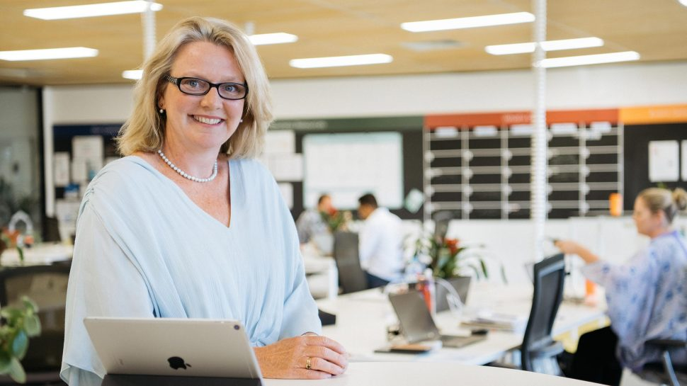 Photo of Mary Favelle standing in the Small Business Hive