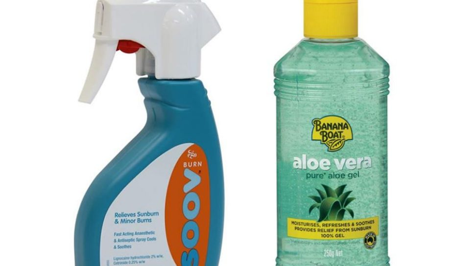 Chemist Warehouse products: Ego brand SOOV lotion and Banana Boat aloe vera gel