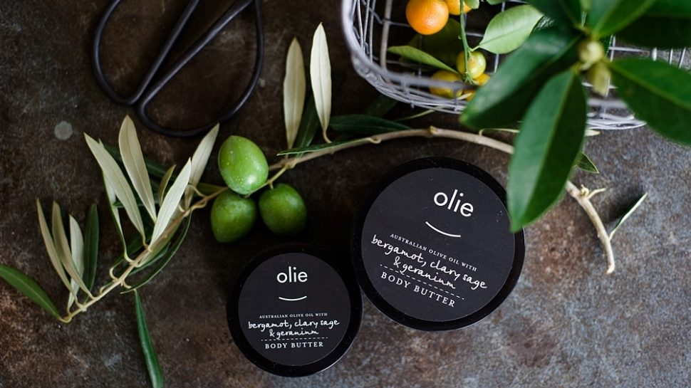 Product photography showing some of Olieve and Olie's natural body butters.