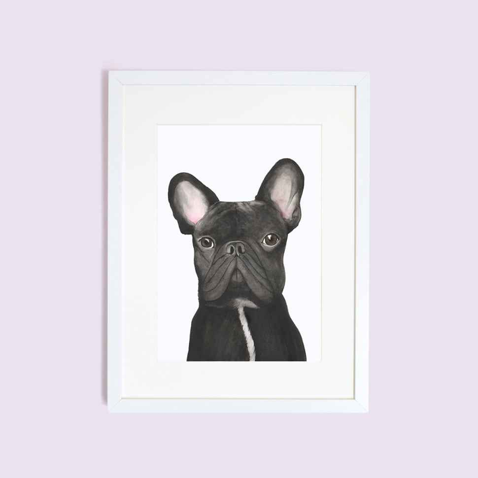 Print in frame of dog