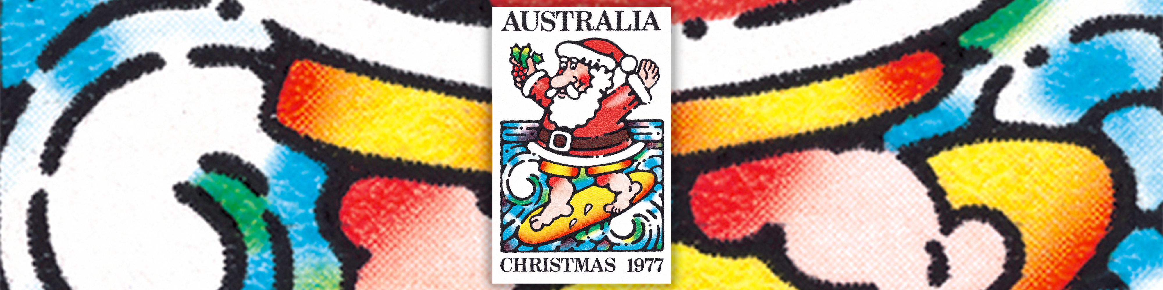 Surfing santa christmas stamp 1977 australia post spiritdancerdesigns Image collections