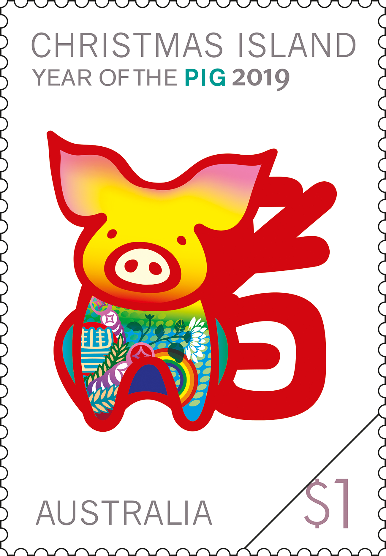 Postage Stamps Christmas 2019 Christmas Island Year of the Pig 2019   Australia Post
