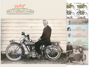 Vintage Motorcycles minisheet and stamp set product photo