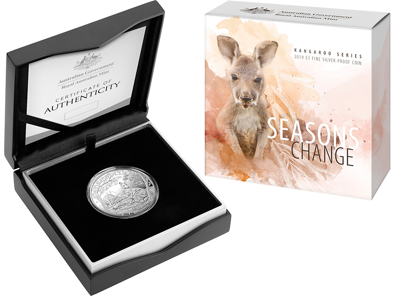 2019 Kangaroo Series $1 silver proof coin