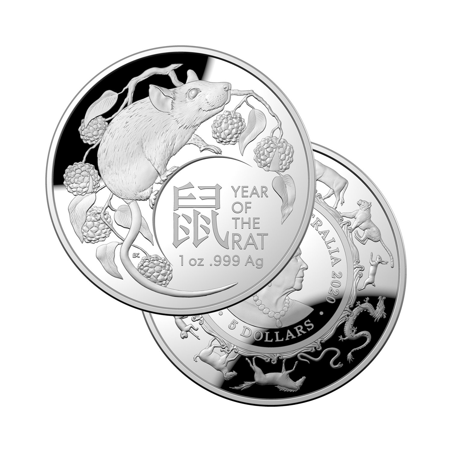 Coin Show Calendar 2020.2020 Lny Year Of The Rat 5 1oz Silver Proof Domed Coin