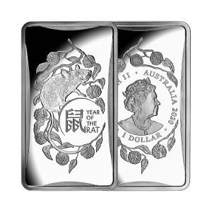2020 Year of the Rat 1/2oz $1 Silver Frosted Ingot product photo