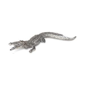 Hand-crafted large Crocodile Pewter figurine product photo
