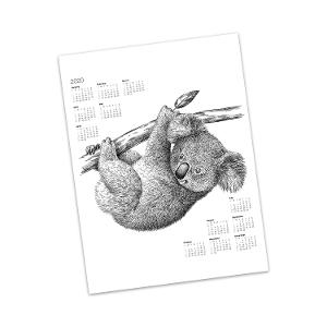 Koala hanging from a branch calendar tea towel product photo