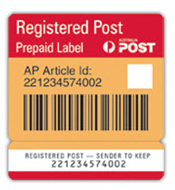 Registered Post prepaid labels - Box of 50 - Registered Post
