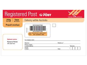 Registered Post DL prepaid envelope - Pack of 10 product photo