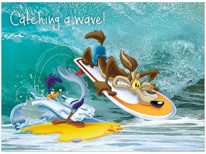 Road Runner and Wile. E. Coyote surfing in WA product photo