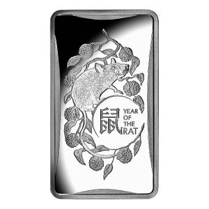2020 $1 1/2oz Silver frosted Year of the Rat ingot product photo
