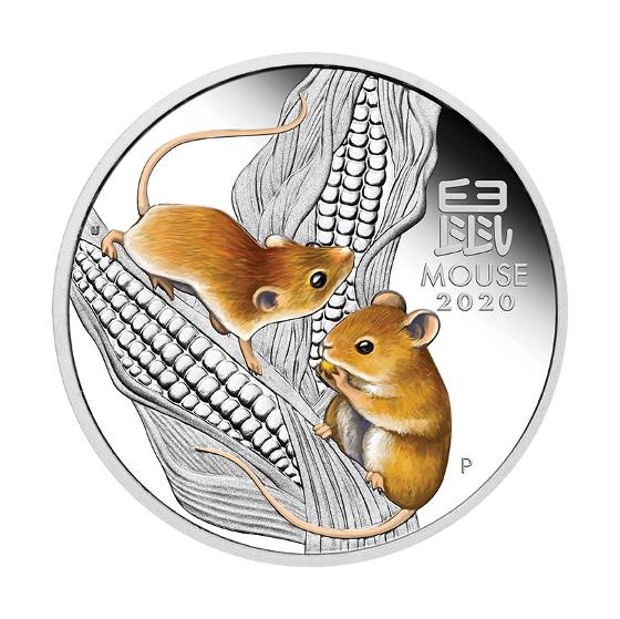 2020 Year of the Mouse 1oz silver proof coloured coin product photo Internal 1 DETAILS