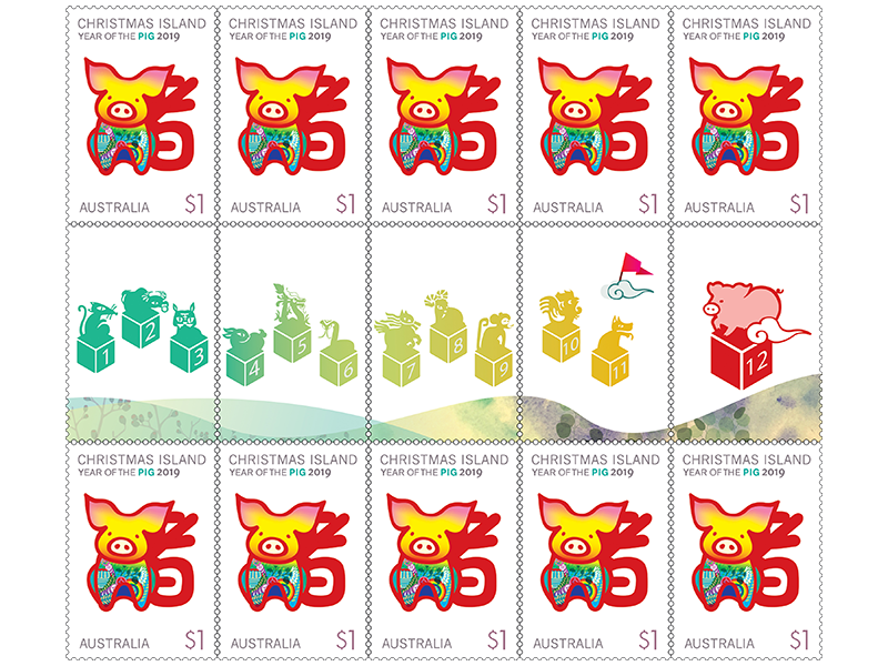 2019 Christmas Stamps.Gutter Strip 10 X 1 Christmas Island Year Of The Pig 2019 Stamps