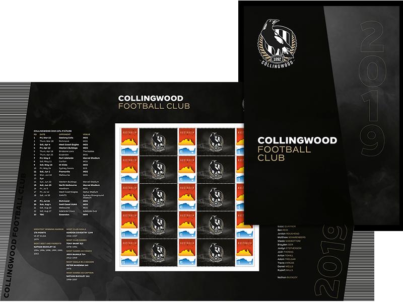 AFL 2019 Collingwood Football Club stamp pack