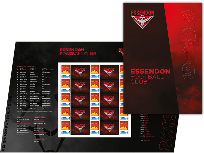 AFL 2019 Essendon Football Club stamp pack