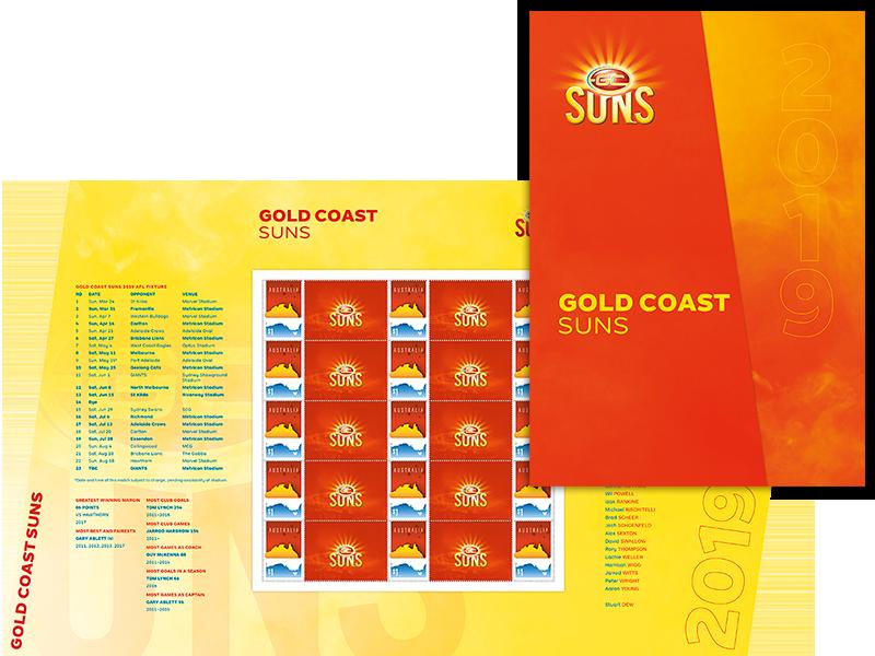 AFL 2019 Gold Coast Suns stamp pack