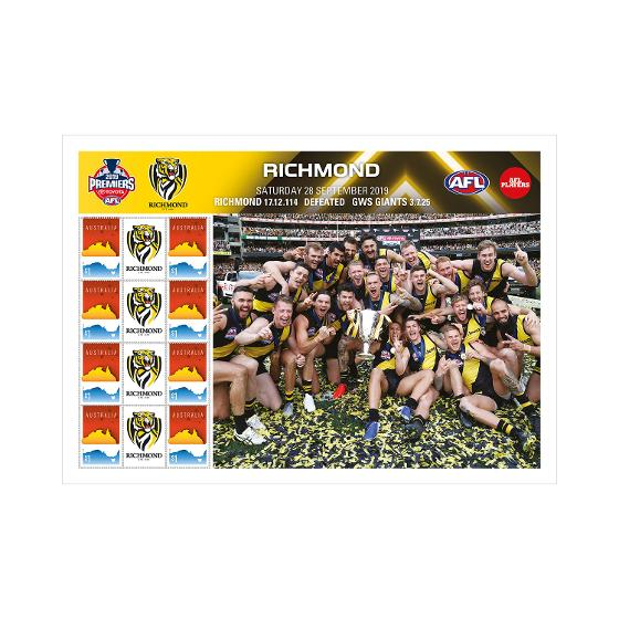 2019 AFL Premiers - Richmond Tigers stamp sheet product photo Internal 1 DETAILS
