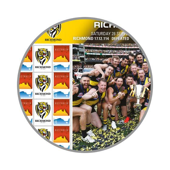 2019 AFL Premiers - Richmond Tigers stamp sheet product photo Internal 2 DETAILS