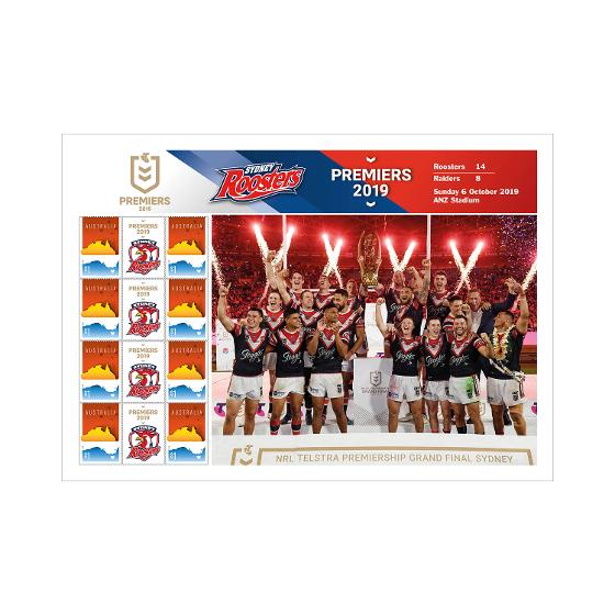 2019 NRL Premiers - Sydney Roosters stamp sheet product photo Internal 1 DETAILS
