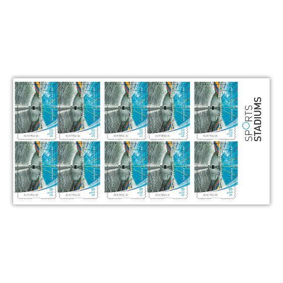 Chequebook of 20 x 10 x $1.10 Sydney Olympic Park Aquatic Centre stamps product photo Internal 2 DETAILS