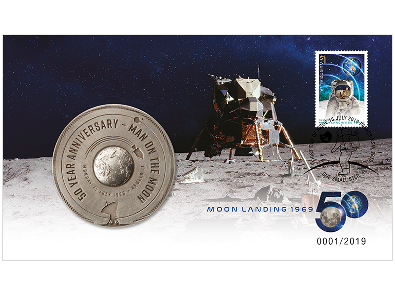 First Moon Walk stamp and medallion cover