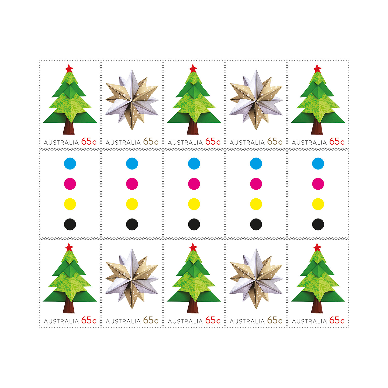 Christmas Stamps 2019.Gutter Strip 10 X 65c Christmas 2019 Tree And Star Stamps