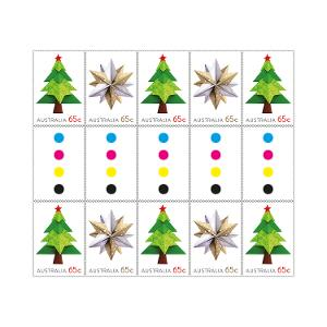 Gutter strip 10 x 65c Christmas 2019 Tree and Star stamps product photo