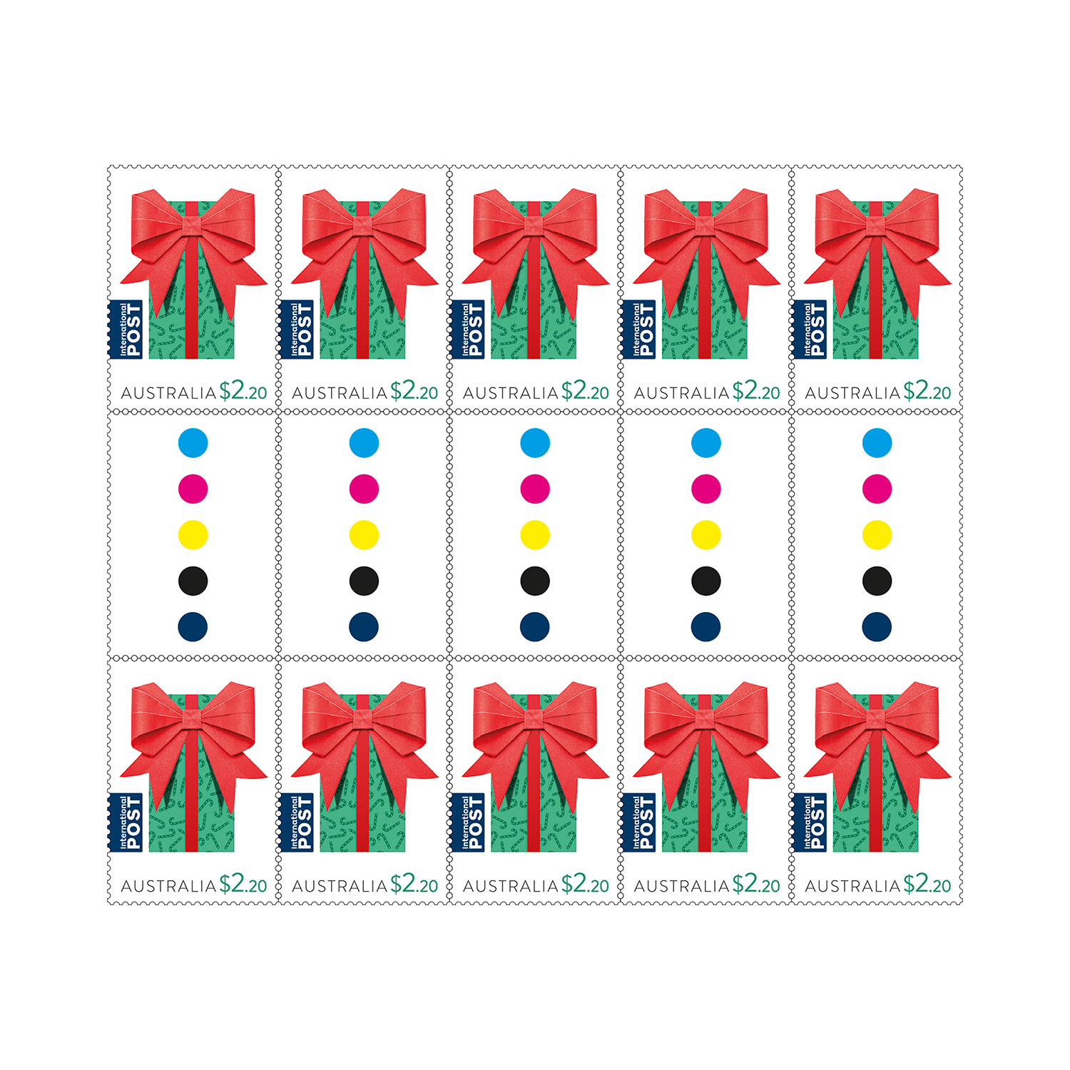 Christmas Stamps 2019.Gutter Strip 10 X 2 20 Christmas 2019 Gift International Stamps