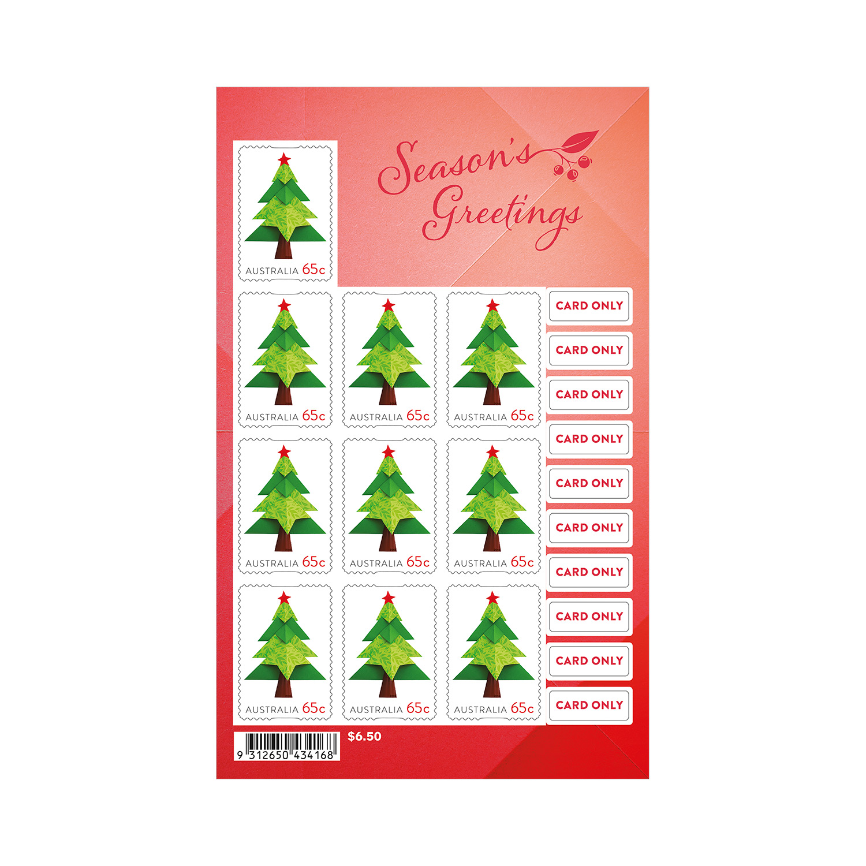 2019 Christmas Stamps.Embellished Sheetlet 10 X 65c Christmas Tree Stamps