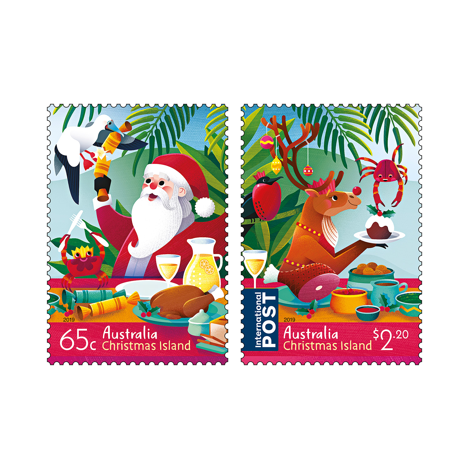 Christmas Stamps 2019.Set Of Christmas Island Christmas 2019 Gummed Stamps