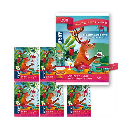 Sheetlet of 5 x $2.20 CI Christmas 2019 international stamps product photo Internal 1 DETAILS