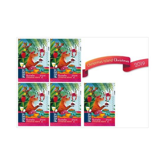 Sheetlet of 5 x $2.20 CI Christmas 2019 international stamps product photo Internal 2 DETAILS