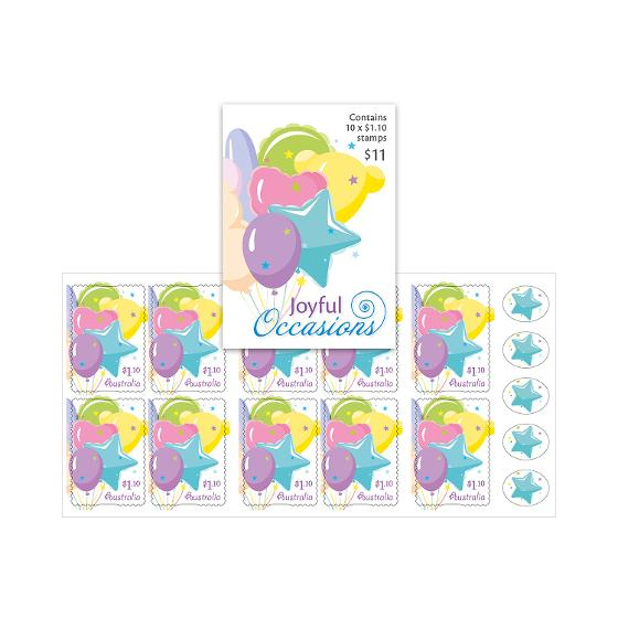 Booklet of 10 x $1.10 Balloons stamps product photo Internal 1 DETAILS