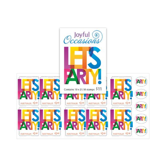 Booklet of 10 x $1.10 Let's Party stamps product photo Internal 1 DETAILS