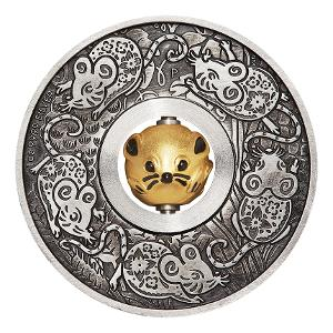 2020 Year of the Mouse Rotating Charm 1oz silver antiqued coin product photo