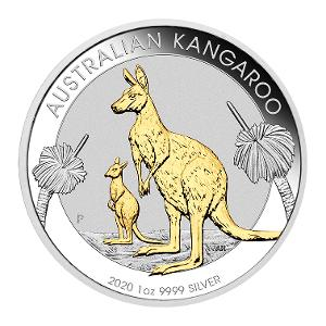 2020 Kangaroo 1oz Silver gilded coin product photo