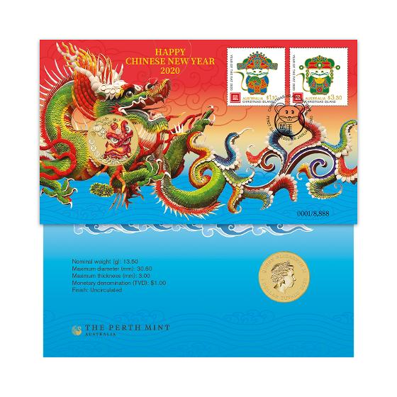 Year of the Rat 2020 'Dragon' postal numismatic cover product photo Internal 1 DETAILS