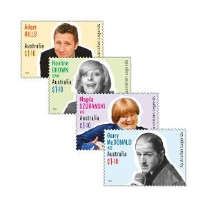 Set of Australian Legends of Comedy gummed stamps product photo