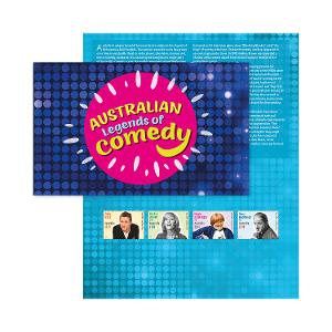 Australian Legends of Comedy stamp pack product photo