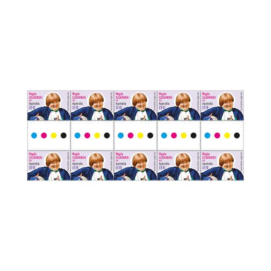 Gutter strip of 10 x $1.10 Magda Szubanski AO stamps product photo Internal 1 DETAILS