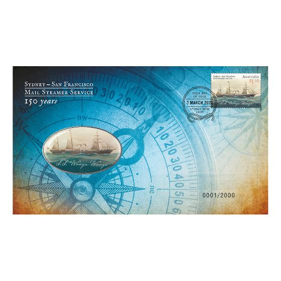 Sydney-San Francisco Mail Steamer stamp and medallion cover product photo Internal 1 DETAILS